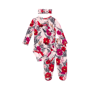 Posh Peanut Fall 2020 Kimono Footie Pants and Hat/Headband