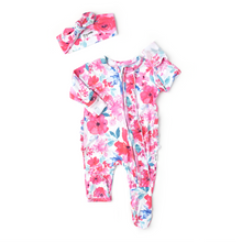 Load image into Gallery viewer, Lucy Floral Sleeper & Headband NB