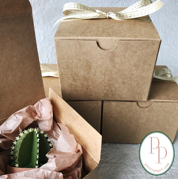 Opened kraft gift box with a small, prickly paper cactus nestled inside tissue. Next to 3 boxes, tied with bows, stacked in a pyramid against a white background.