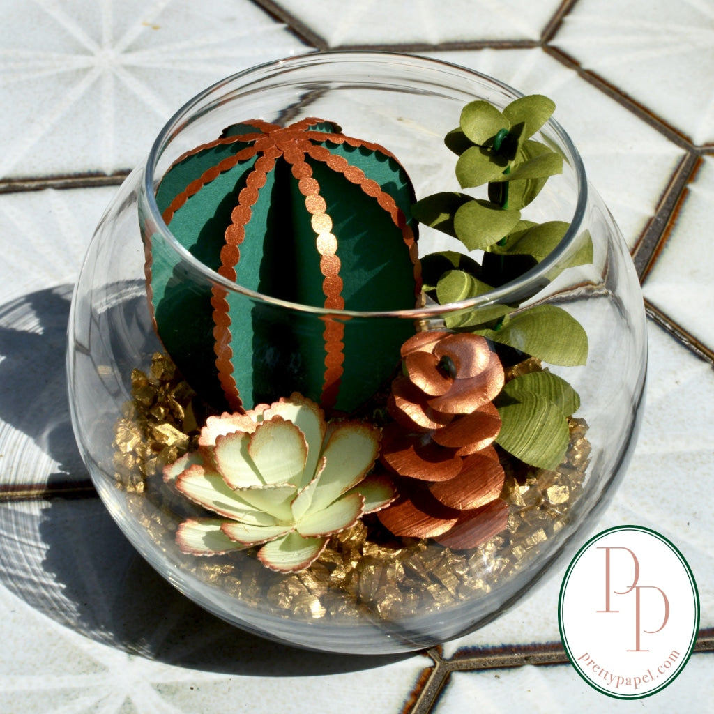 Paper Succulent Terrarium Kit, Small Beaded Cactus Bubble Glass Vase - Free Shipping