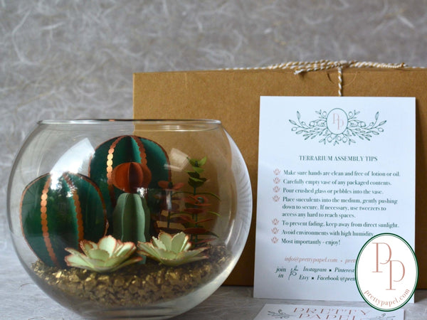 Paper Succulent Terrarium Kit, Large Beaded Cactus Bubble Glass Vase - Free Shipping