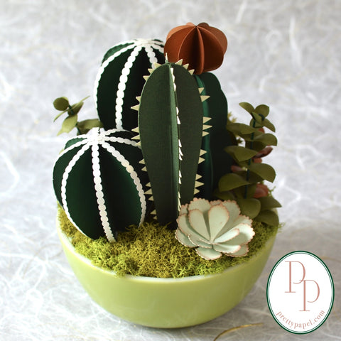 Paper Succulents and Cacti in Retro Green Bowl - Free Shipping