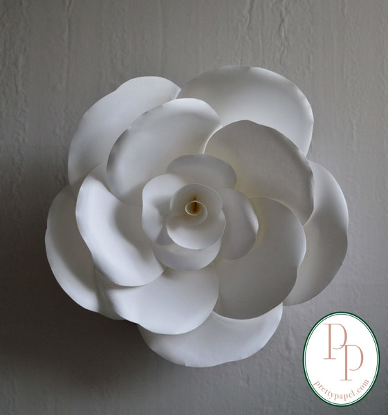 "14"" paper rose with softly sculpted white petals."