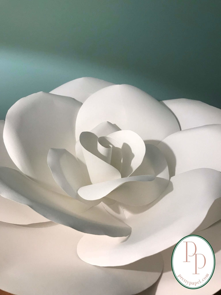 "Large, 14"" white paper rose wall flower, draped in light in front of a blue background."