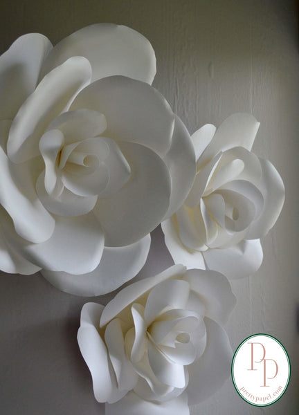 Paper Rose Wall Flowers, Set of 3