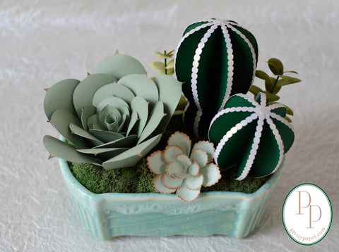 Vintage Turquoise UPCO Planter Paper Succulent Garden - Free Shipping
