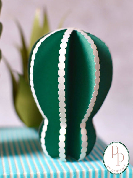 White and green beaded edge paper cactus for build your own paper succulent arrangement.