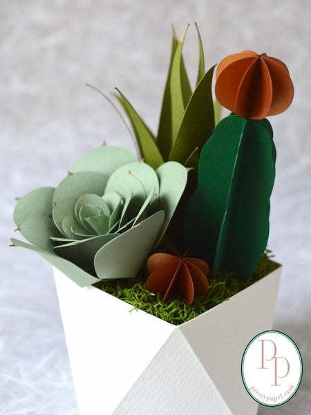 Arrangment of 3 life like paper succulents nestled on top of soft moss in a folded origami base