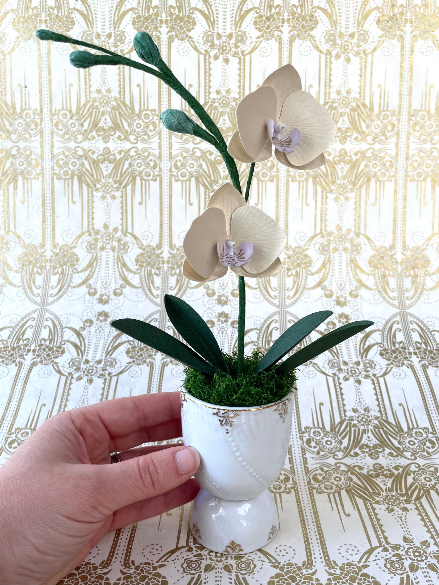 Small Golden Paper Orchid in Vintage Goose Egg Cup