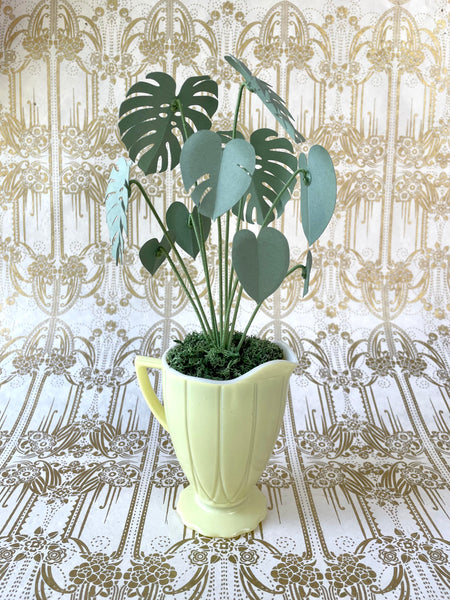 Paper Monstera House Plant in Vintage Pastel Yellow Platonite Creamer