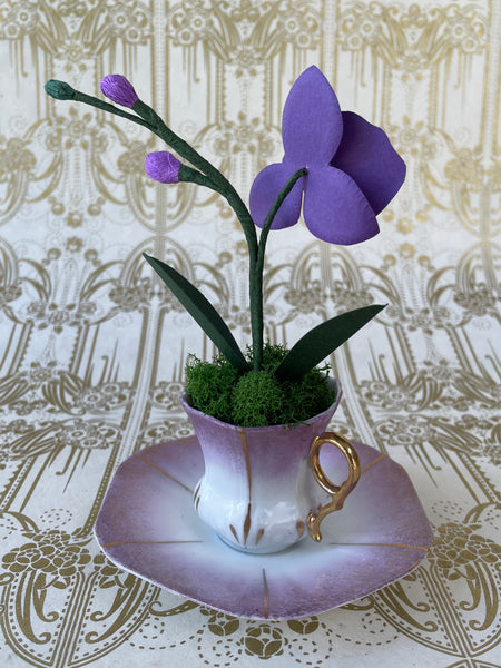 Mini Paper Orchid in Vintage Demi Cup with Saucer