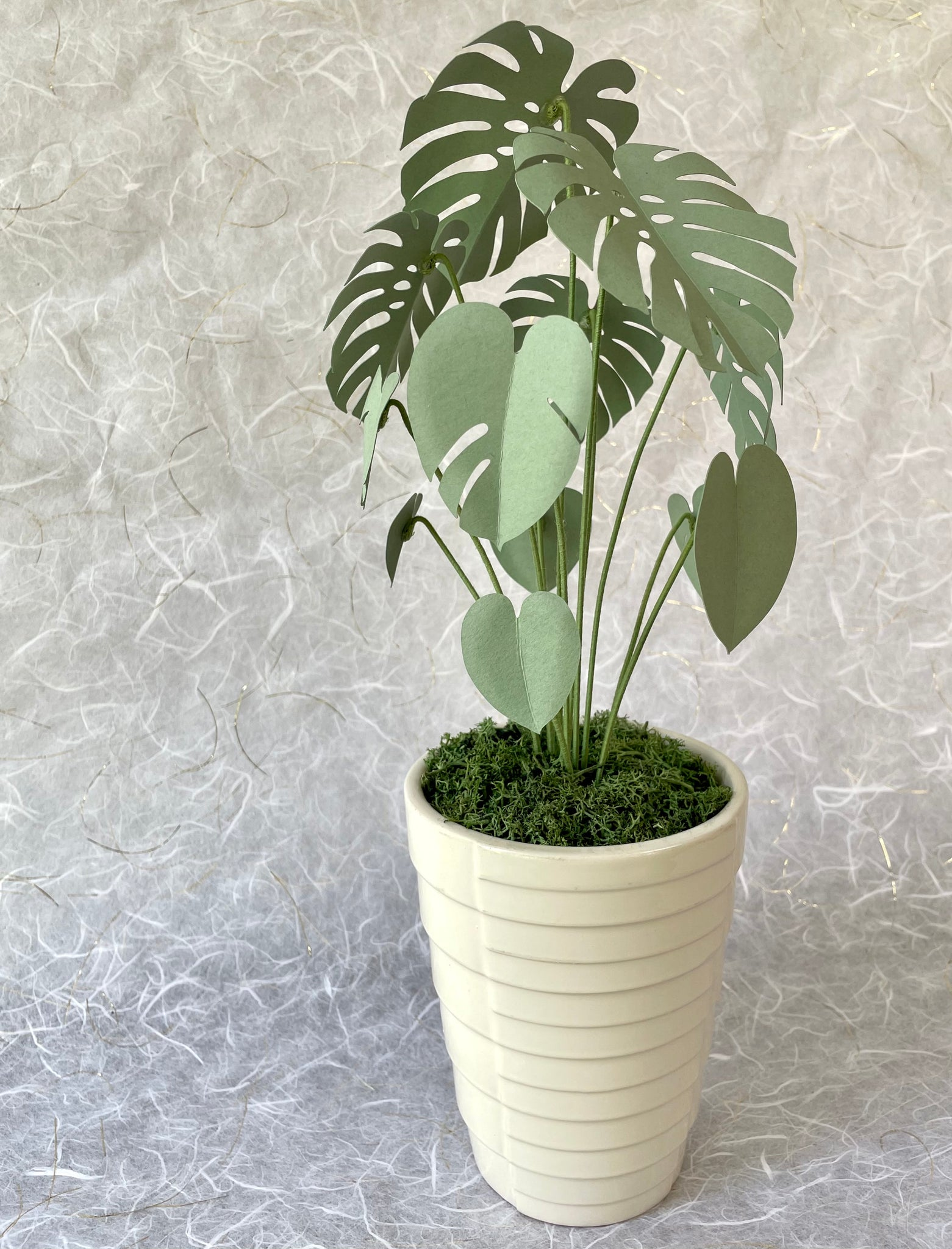 Paper Monstera House Plant in Vintage Geometric Planter