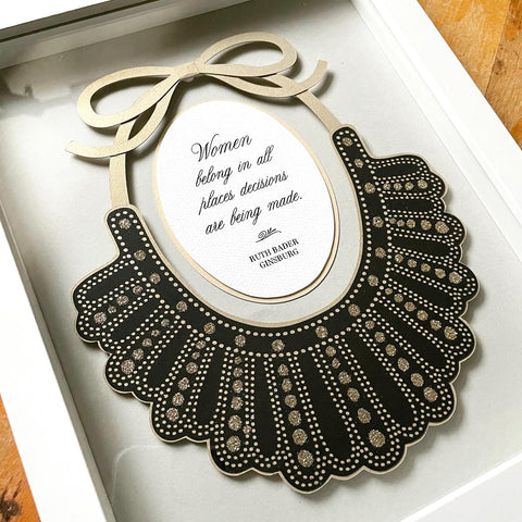 "RBG Dissent Collar Layered Papercut in 8"" x 10"" Shadowbox with Quote"