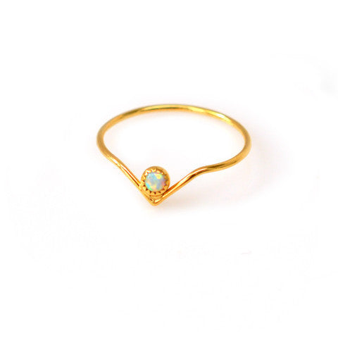 Mini Opal Arc Ring - size 7