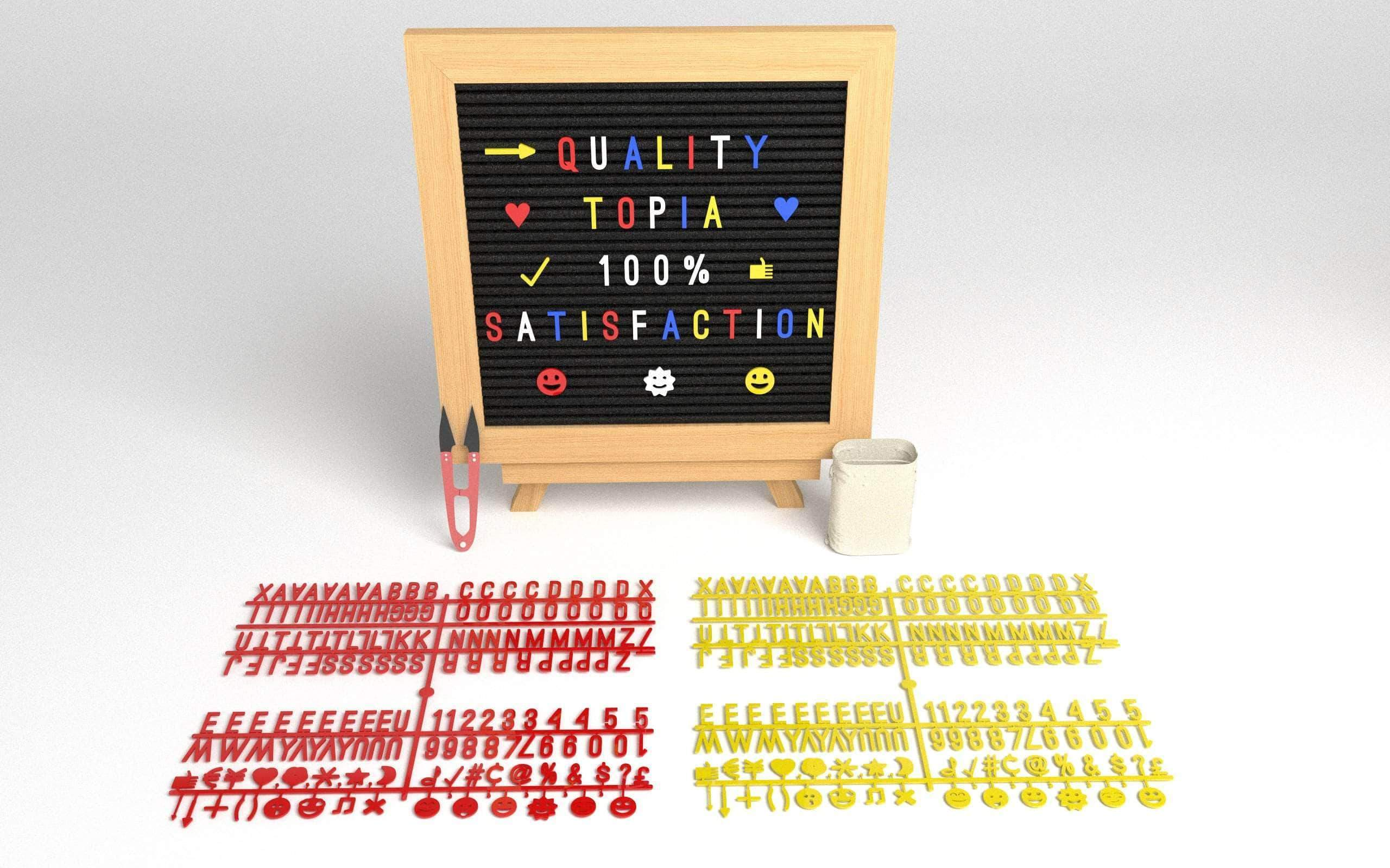Premium Oak Felt Letter Board with Unique Letters, Emojis and a Stand - 10*10 inches
