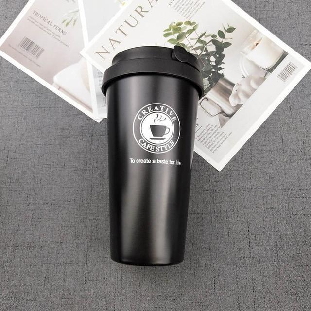 Quality Topia LLC Black with handle Premium Stainless Steel Travel Coffee Mug