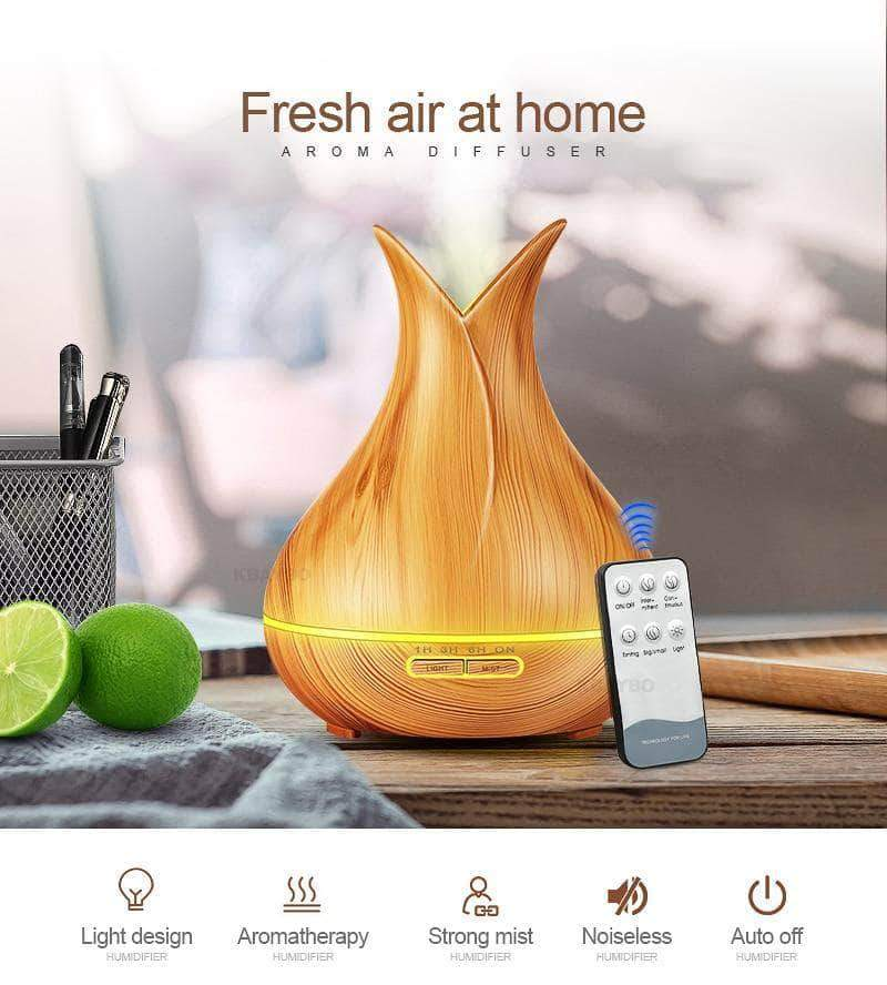 Quality Topia LLC Dark Wood / China / US Ultrasonic Air Humidifier 7 Color Changing LED Lights