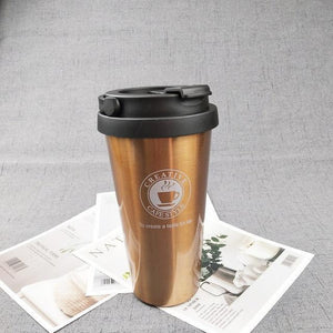 Quality Topia LLC Gold with handle Premium Stainless Steel Travel Coffee Mug
