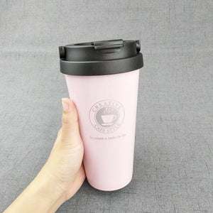 Quality Topia LLC Pink with handle Premium Stainless Steel Travel Coffee Mug
