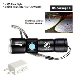Quality Topia LLC Q5-Package B USB Powerful Portable Led Flashlight