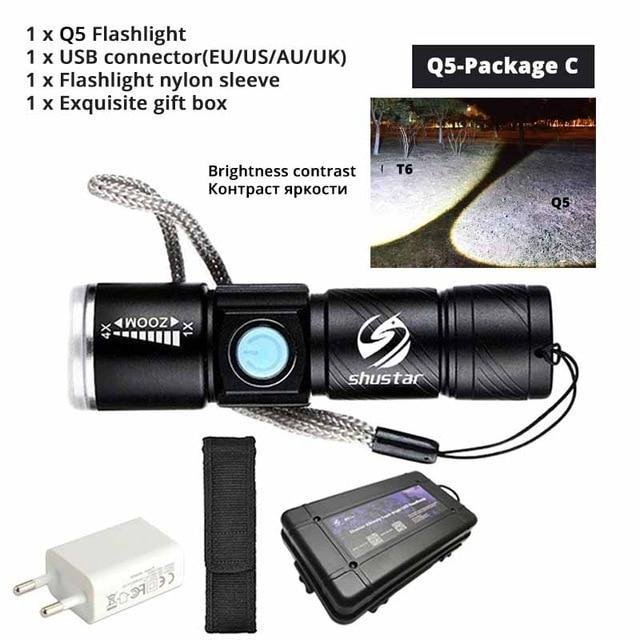 Quality Topia LLC Q5-Package C USB Powerful Portable Led Flashlight