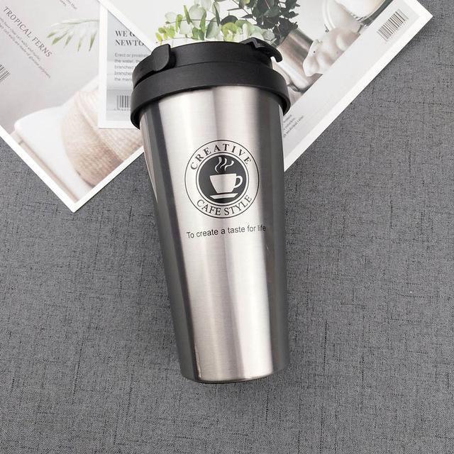 Quality Topia LLC Silver with handle Premium Stainless Steel Travel Coffee Mug