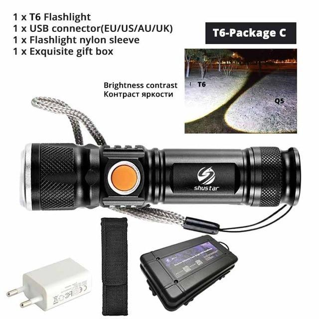 Quality Topia LLC T6-Package C USB Powerful Portable Led Flashlight