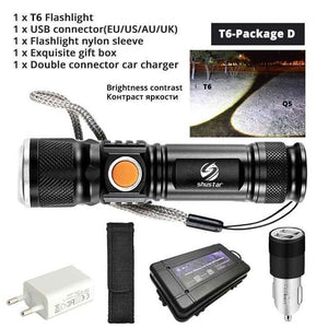 Quality Topia LLC T6-Package D USB Powerful Portable Led Flashlight