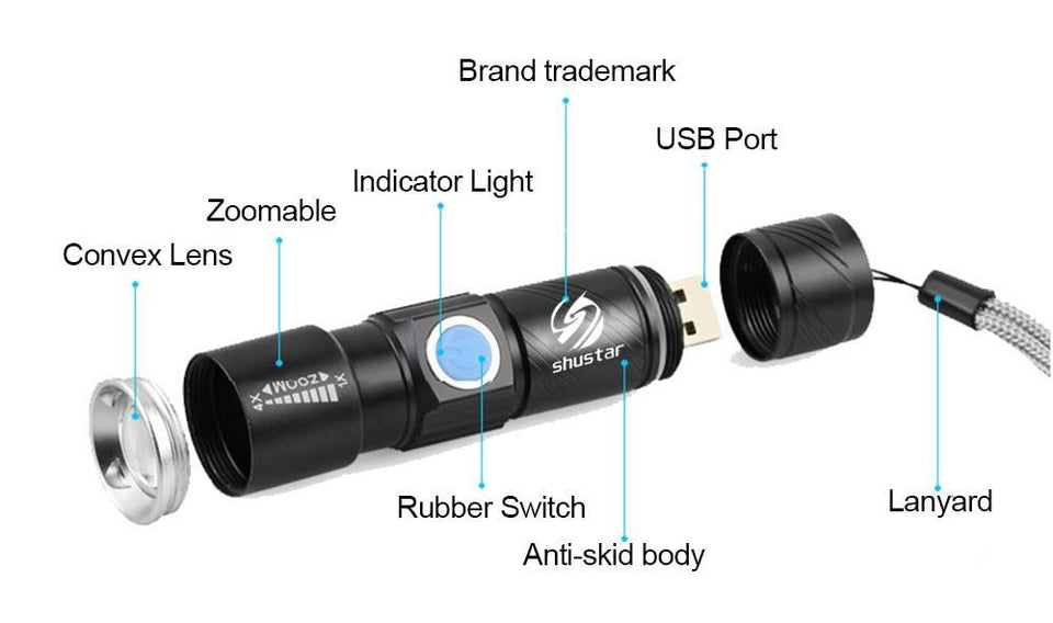 Quality Topia LLC USB Powerful Portable Led Flashlight
