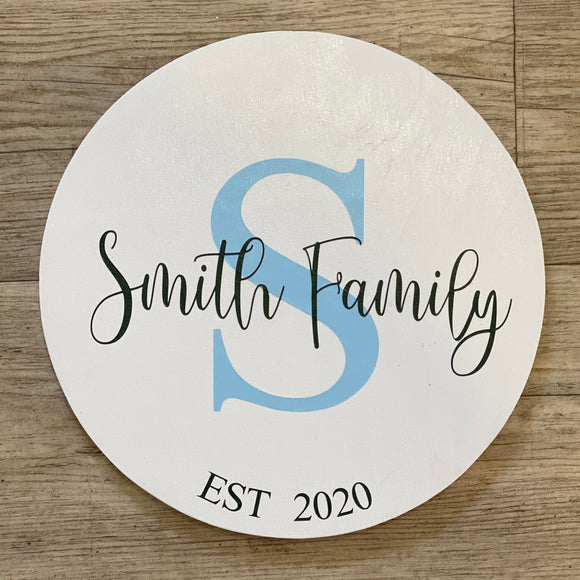 Round Surname Sign | Signed Jaclyn
