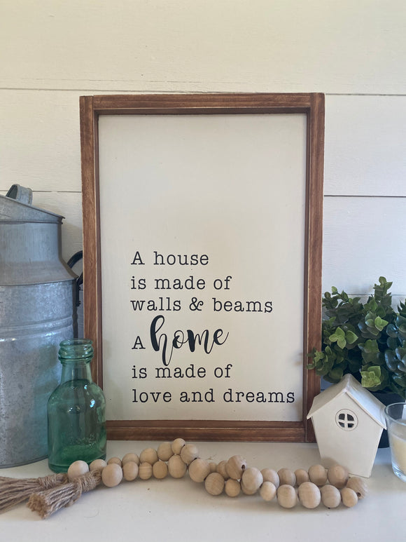 A house is made with walls and beams. A home is made with love and dreams Sign | Signed Jaclyn