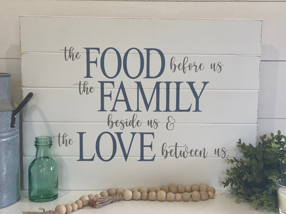 Food, Family, Love Dining Room Sign | Signed Jaclyn