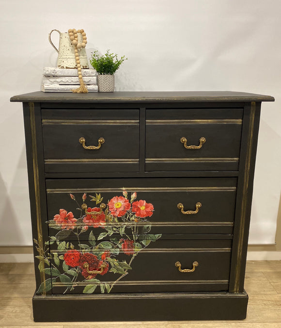 Black and Gold Drawers - Signed Jaclyn