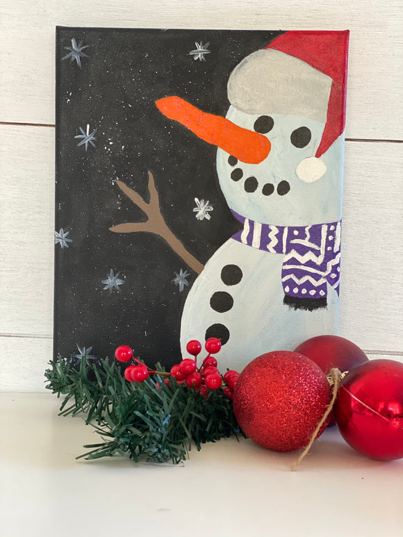 Christmas Snowman Painting | Art by EllaQuaint - Signed Jaclyn