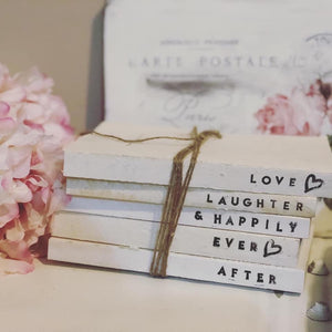 Farmhouse Book Stack with custom saying - Signed Jaclyn