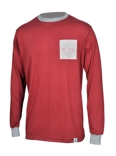 Luxury Leaf™️ Maroon Long-Sleeve Pocket T-Shirt