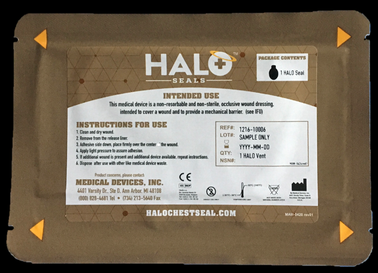"Halo Seal IFAK Single Pack (1 Halo Seal) 7"" x  5""  Case Only Qty 200"