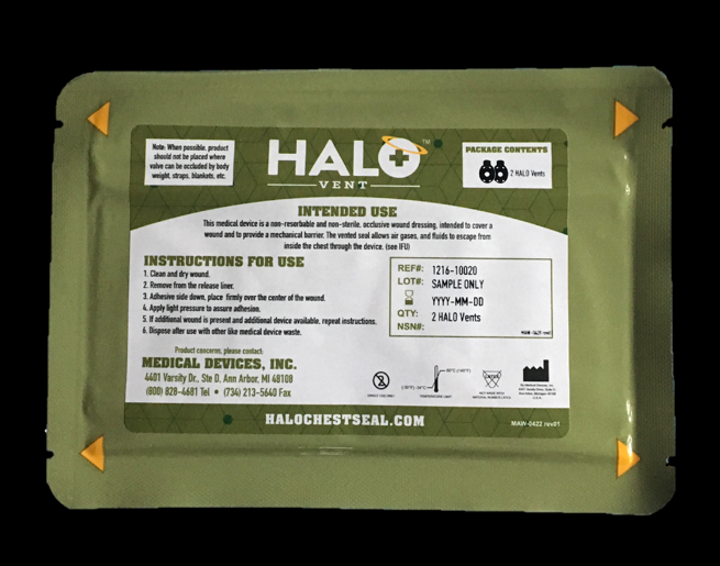 "Halo Vent IFAK Two Pack (2 Halo Vent) 7"" x  5"" Each"