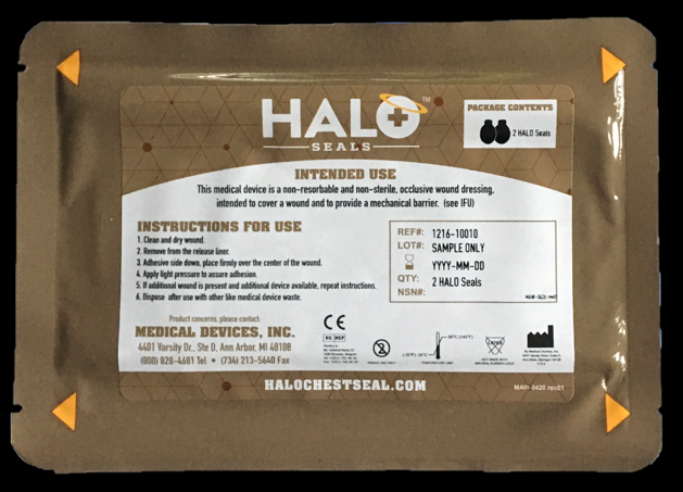 "Halo Seal IFAK Two Pack (2 Halo Seals) 7"" x  5"" Each"