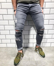 Load image into Gallery viewer, Trendy Knee Hole Zippered Small Hole Denim Trousers