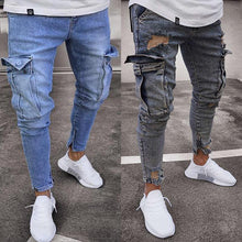 Load image into Gallery viewer, Fashion Mens Long Jean Stretch Slim Trousers