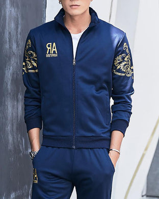 Plus Velvet Totem Pattern Print Sports Suit
