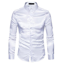 Load image into Gallery viewer, Men's Casual Fashion Personality Glossy Long-Sleeved Lapel Shirt