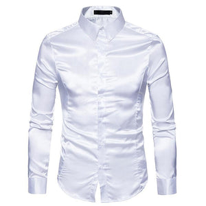 Men's Casual Fashion Personality Glossy Long-Sleeved Lapel Shirt