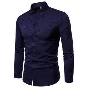 Men's Chest Hollow Design Long Sleeve Shirt