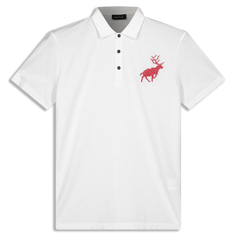 Fashion Lapel Little Deer Floral Printed Polo Shirt