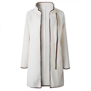 Fashion Turtle Neck Zipper Pocket Button Long Sleeve Jackets