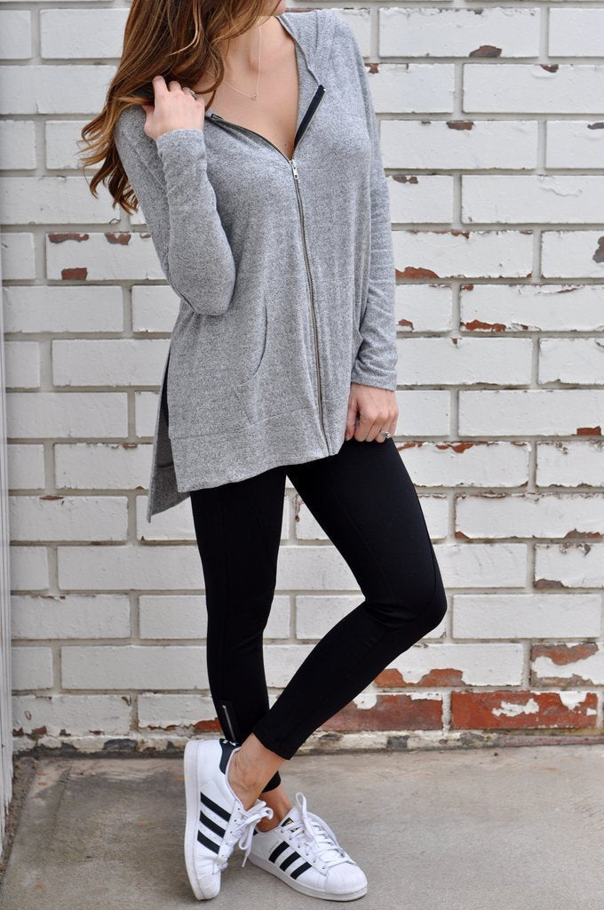 Casual Zipper Slit Long Sleeve Hoodies