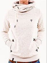 Load image into Gallery viewer, Cowl Neck  Drawstring Patchwork Slit Pocket  Contrast Stitching  Leopard Sweatshirts