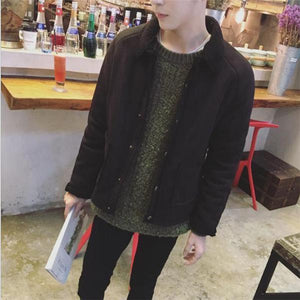 Casual Chic Slim Plain Thermal Button Long Sleeve Men Jacket Outerwear